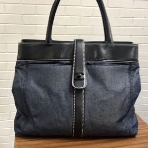Authentic CHANEL Denim CC Turnlock Lambskin Tote